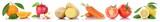 Obst und Gemüse Früchte Apfel Karotten Möhren Tomaten Zitrone Freisteller freigestellt isoliert in einer Reihe