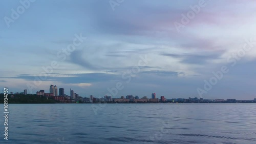 Dnipro cityscape sunset time lapse