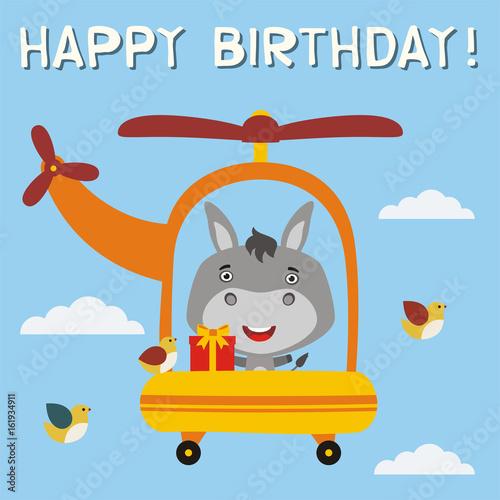 Happy Birthday Funny Donkey With Birthday Gift Flying On Helicopter