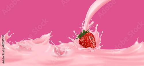Foto op Plexiglas Milkshake Strawberry milk pink splash On a pink background.