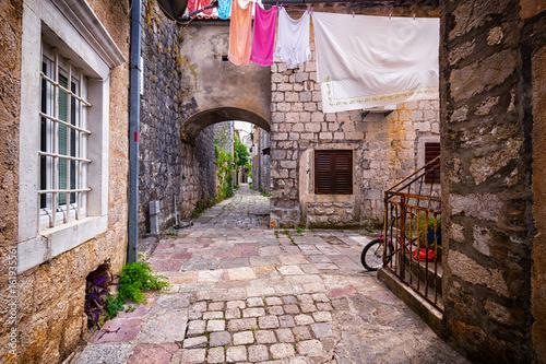 Poster Smal steegje architecture of Rovinj (Rovigno). Istria. Croatia.