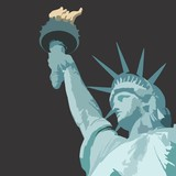 Statue of liberty close up with torch vector illustration with bronze patina and grey background - 161939376