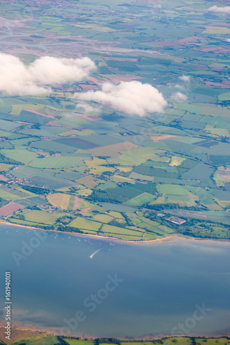 View from top on Essex with River Crouch and mosaic fields and meadows Poster