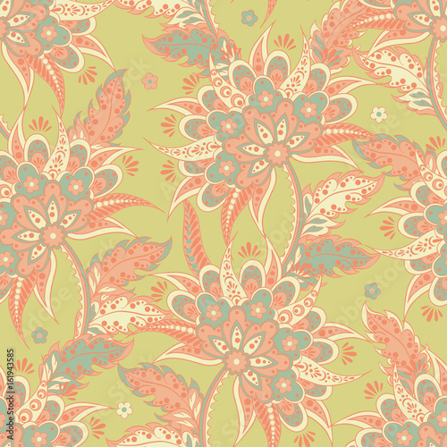 ethnic flowers seamless vector pattern. floral vintage background - 161943585