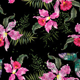 Embroidery trend floral seamless pattern with orchids and butterfly.
