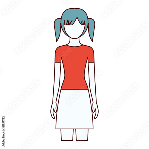 color sections silhouette faceless front view girl with skirt and tall pigtails hairstyle vector illustration