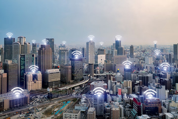 Wifi icon and Osaka city with wireless network connection. Osaka smart city and wireless communication network, abstract image visual, internet of things. © ake1150
