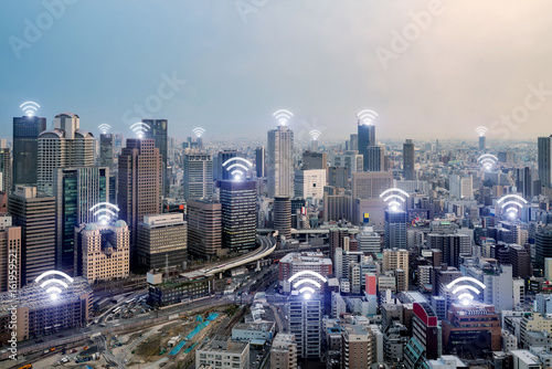 Wifi icon and Osaka city with wireless network connection. Osaka smart city and wireless communication network, abstract image visual, internet of things. - 161959521