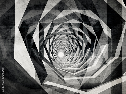 Fototapeta na wymiar Dark hypnotic tunnel with concrete texture
