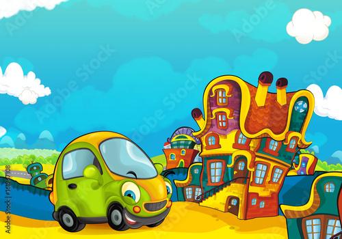 jazda-przez-miasto,-bajka,-rysunek,-tapeta,-plakat
