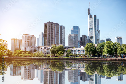Sticker View on the financial district with Main river in Frankfurt city, Germany