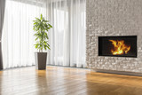 Open space with brick fireplace - 161972531