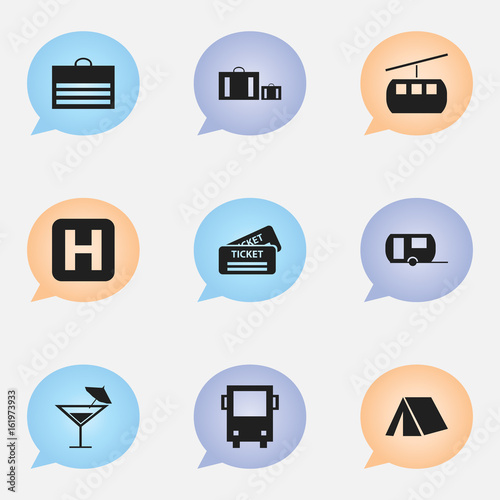 Set Of 9 Editable Travel Icons. Includes Symbols Such As Cocktail, Briefcase, Trading Purse And More. Can Be Used For Web, Mobile, UI And Infographic Design.