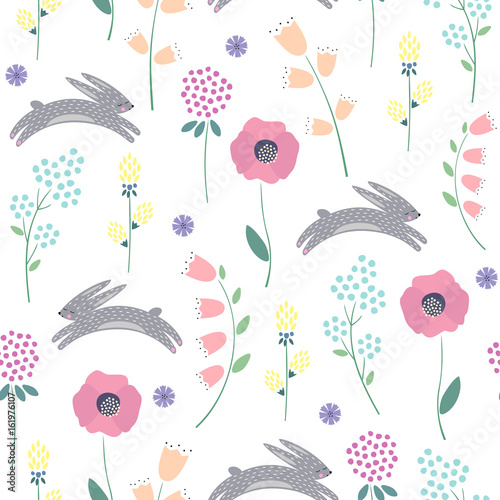 Materiał do szycia Easter bunny with spring flowers seamless pattern on white background. Cute childlike style holiday background. Cartoon baby rabbit illustration. Easter design for textile, fabric, decor.
