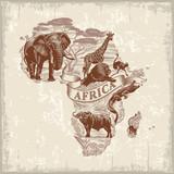 Afrykańskie zwierzęta, kontynent, litery, vintage w kolorze czerwonym, ilustracja, wektor
