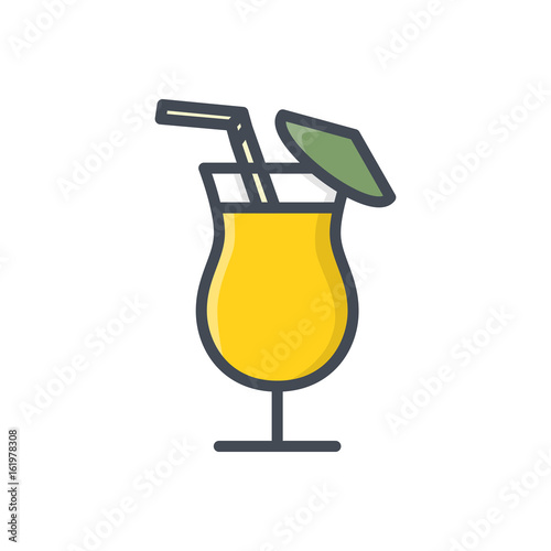Cocktail drink beverage colored icon