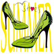 High heel light green shoes