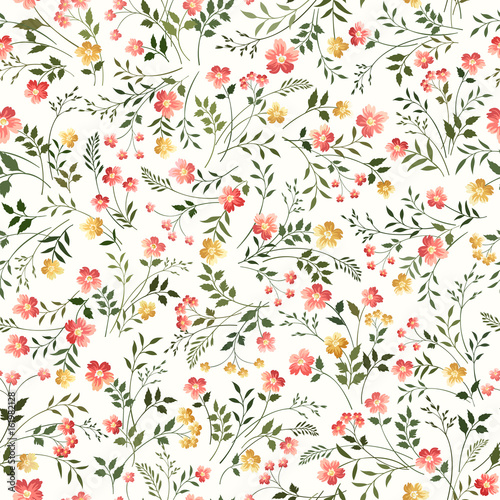 floral pattern on white background - 161982128