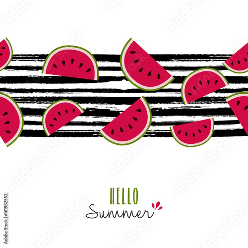 Summer quote watermelon pattern design card Poster