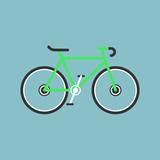 Bicycle modern flat illustration. Lime green bike icon.