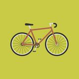 Bicycle modern flat illustration. Red bike icon.