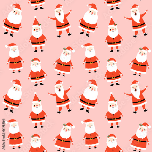 Cotton fabric Cute seamless pattern with Santa Claus on pink background for Merry Christmas and Happy New Year decor