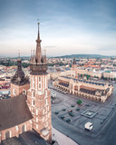 Aerial view on the main market square in Krakow and Marys Basilica