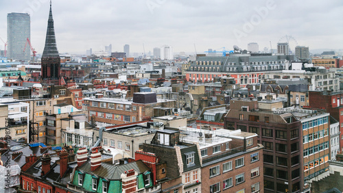houses in London city in rainy winter day