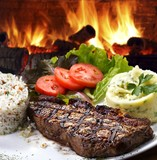 cooked beef meat steak with vegetables meal