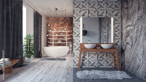 Modern interior design of bathroom 3D Render