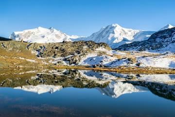 Riffelsee bei Zermatt in den Schweizer Alpen, Schweiz