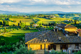 Sunset and houses in Tuscany