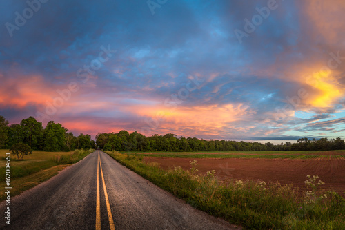 Beautiful sky with country road