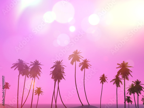 Tuinposter Purper 3D palm trees landscape with a retro effect