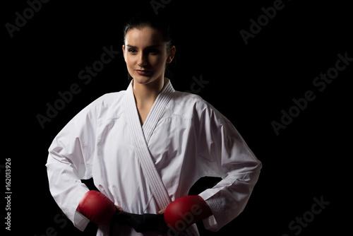 Portrait of a Woman In Kimono Black Background
