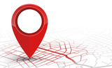 GPS navigator pin checking red color on white background