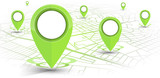 Fototapety GPS navigator pin green color mock up wite map on white background