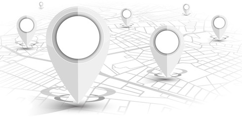 GPS navigator pin white color mock up wite map on white background