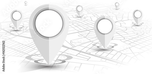 GPS navigator pin white color mock up wite map on white background - 162022162