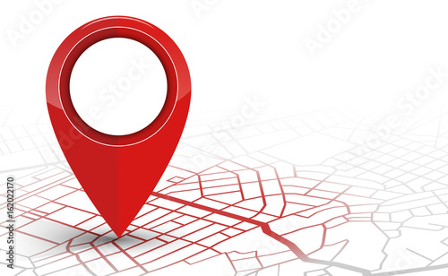 GPS navigator pin checking red color on white background - 162022170