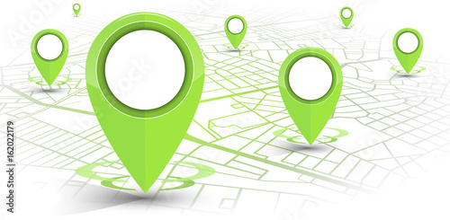 GPS navigator pin green color mock up wite map on white background - 162022179