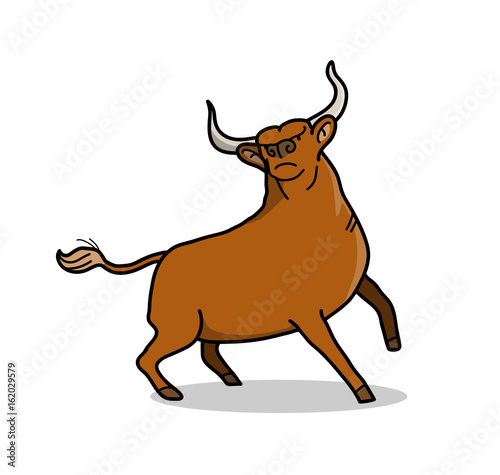 Brown Bull, a hand drawn vector cartoon of a bull with big horns.