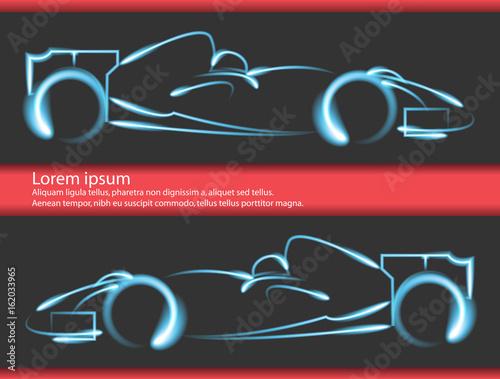 Fotobehang F1 Set of formula 1 one racing car icons. Vector