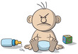 Illustration of newborn baby angry - 162034540