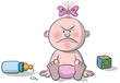 Illustration of newborn baby angry - 162034563
