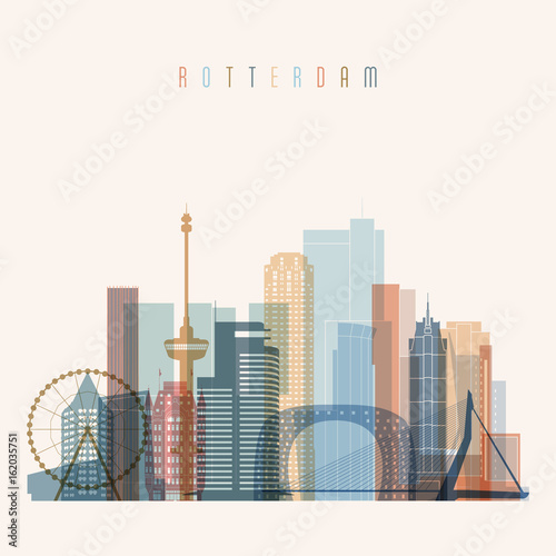 Foto op Plexiglas Rotterdam Rotterdam skyline detailed silhouette. Transparent style. Trendy vector illustration.