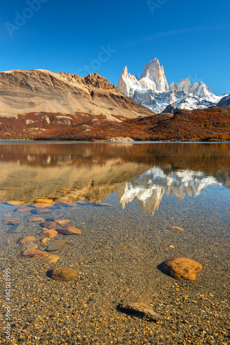 Foto op Canvas Natuur Reflection of Mount Fitz Roy on Capri Lagoon, El Chalten, Los Glaciares National Park, Patagonia, Argentina