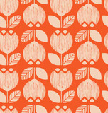 seamless retro pattern with flowers - 162040572