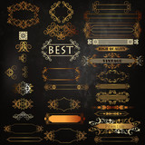 Set of vector luxury golden calligraphic elements  for logotypes and label identity design - 162042774