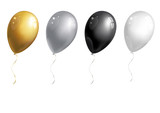 Set of silver, golden, white and black balloons on white background. Vector illustration. - 162045175